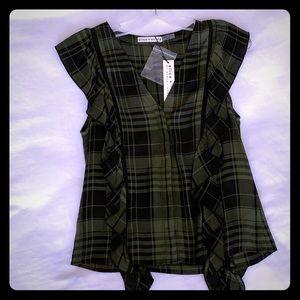 Alice + Olivia army/black cap sleeve blouse